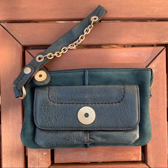 Kipling Handbags - KIPLING Green nubuck pebbled lthr wristlet wallet